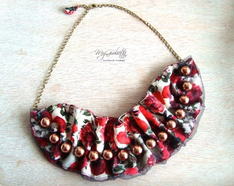 Red Silk Tulle Necklace Handmade Necklace Red Gift Woman Vintage Inspired Necklace Hand-crafted Fashion Jewellery Natural Textile Flowers