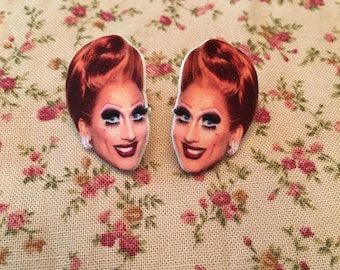 Bianca Del Rio and Katya Pins and Earrings
