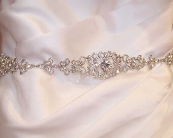 Crystal Belt - Wedding Sash - Wedding Belt - Prom Belt - Prom Sash - Silver Sash - Silver Belt - Crystal Bridal Belt - Bridal Belt - SOPHIA