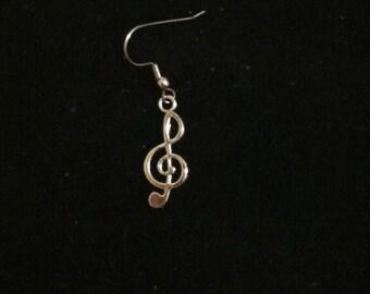 Men's Treble Clef Earring, Music Note Earrings, Treble Clef
