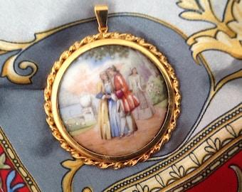 Round pendant 58mm, Limoges porcelain cabochon