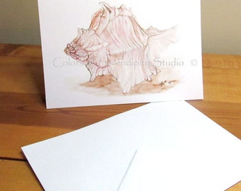 Beach Dreams - Seashell Blank Watercolor Print Card