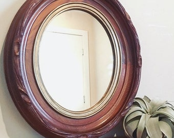 Vintage Oval Solid Mahogany Mirror / Handcarved Ornate Wooden Mirror / Midcentury Framed Large Wall Mirror