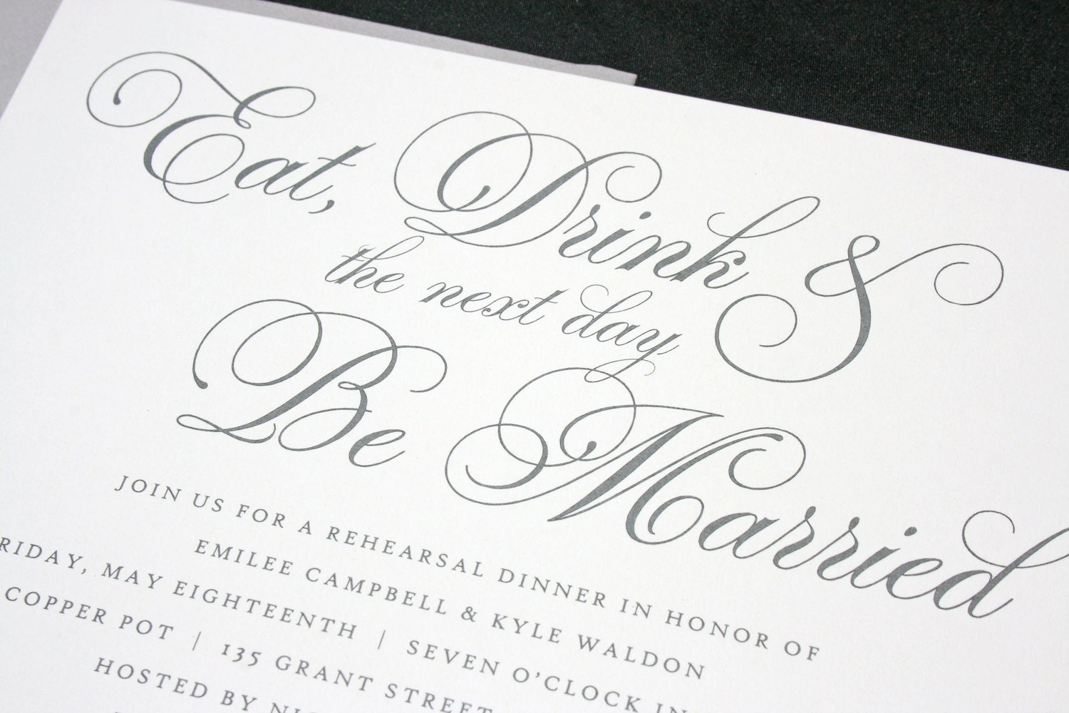 Rehearsal Dinner Invitations Eat Drink and be Married Design
