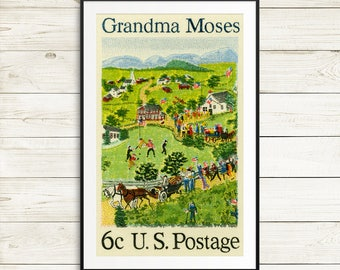 grandma moses art prints, grandma moses, grandma moses prints, grandma moses art, moses art, postage stamps, USA stamps, large wall art