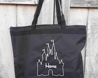 DISNEY HOME, Disney Castle Inspired, Zippered Tote Bag, Disney Tote