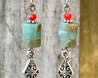 Silver Earrings, Aqua Terra Jasper Earrings, Turquoise Earrings, Orange Earrings, Rustic Earrings, Ethnic Earrings, Boho Earrings, Earthy
