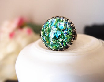 Lycoris No.7---large green fire opal glass stone antique silver brass adjustable ring