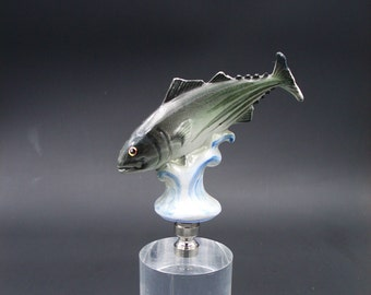 Custom Lamp Finial Featuring a Jumping Fish with Hand Painted Detailing