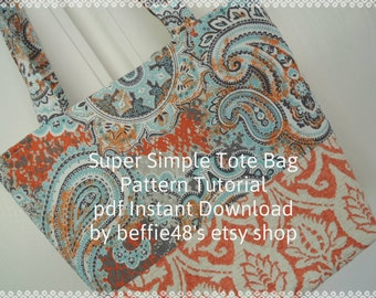 Pattern, Tote, Beach, Shopping Bag, Super Simple Pattern Tutorial, pdf. Easy to Make
