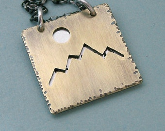 Hiker's Necklace - John Muir Quote - Hand Stamped Sterling Silver and Pierced Brass- Flip Chart Style - The mountains are calling