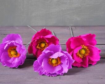 4 purple and fuchsia Poppies, bridal bouquet, bridesmaids bouquet, wedding bouquet, paper flower bouquet, wedding paper flowers, paper poppy