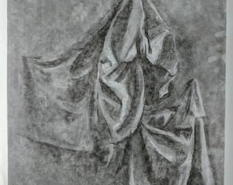Black and White Charcoal Study of Fabric