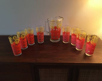 Vintage 9pc Mid Century Starburst Glasses with Pitcher