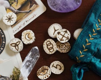 Moose Antler Witches Runes ~ 13 witches runes ~ Pagan Runes ~ Alternative Runes ~ Divination Tools ~ Rune Set with Hand Sewn Silk Pouch.