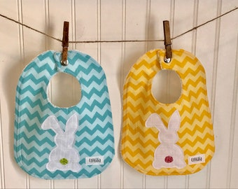 Easter bunny baby bib, Easter gift, one of a kind, Easter basket treats, spring, unique, chevron, delightfully durable, machine washable