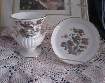 "WEDGWOOD - 1 Round Trinket/pin Dish and a Grecian Urn Vase - ""Kutani Crane"""