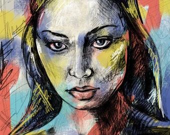 Multicolor graffiti inspired female portrait