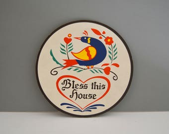 Vintage Wall Hanging - Folk Art Wall Plaque Hex Sign Bless This House Bird Pennsylvania Dutch Zook