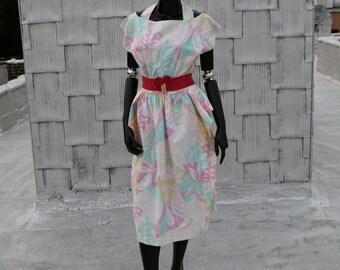 80's Cotton Cut-Out Peplum Dress
