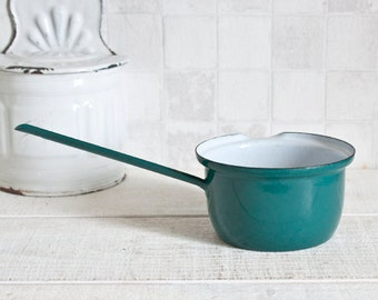 Vintage Teal Blue Little Enamel Pan || French Enamelware Cooking  - Retro Home Decor