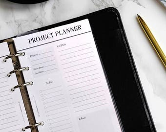 PRINTED Personal Size Planner Inserts | Project Planner Pages, To Do List | Printed Filofax Personal Inserts | LV MM Agenda Refill | Minimal