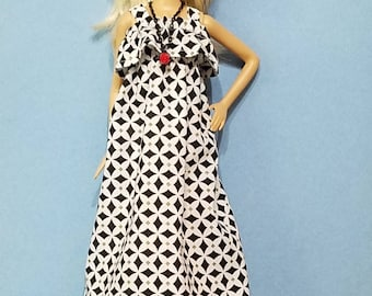 Barbie dress,  Barbie hat,  sundress,  long dress,  Doll clothing,  Barbie doll clothes,  black and white