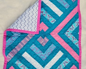 Teal, Pink, and Grey Striped Handmade Baby Quilt With Flannel Backing