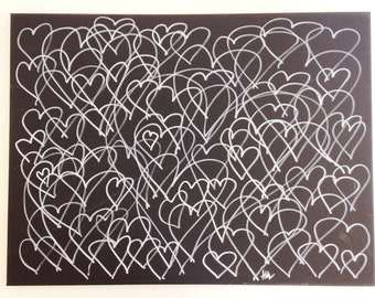 15x18 One-Of-A-Kind Heart Paintings - Horizontal Single Color