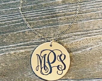 Solid 14K Gold Monogram Necklace | Custom Monogram Disk Necklace | Engraved Monogram | Initial Necklace | Mothers Day Gift | Gift for Mom