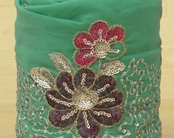 Free Shipping Vintage Indian Sari Trim Border Sewing Lace Green Embroidered Wrap Ribbon 1YD VB12528