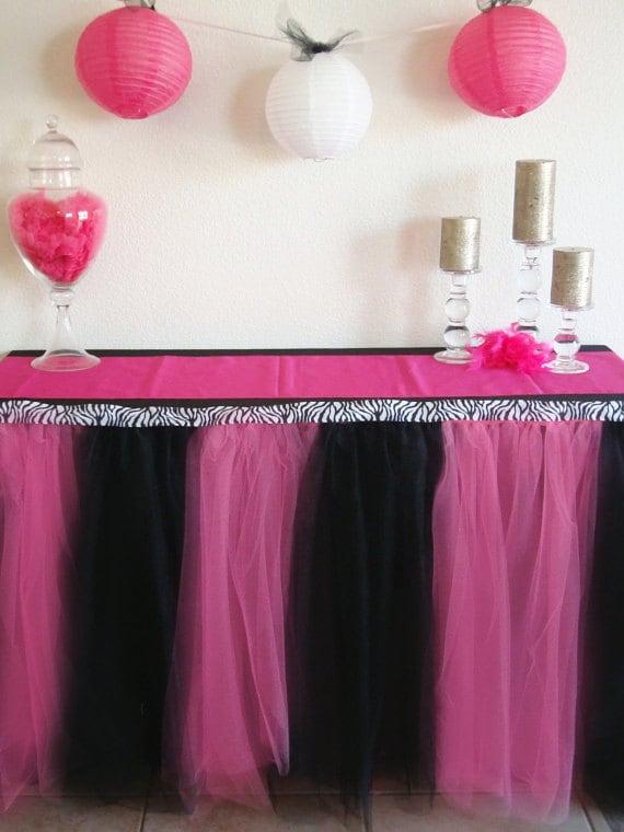 Pink and Black Zebra Table Tutu Skirt
