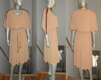Vintage Peach Brown Salmon Striped Dolman Sleeve Disco Terry Dress