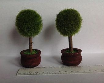2 Dollhouse Miniature Topiary plants
