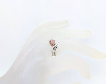 Oregon Sunstone Ring - Pink Sunstone Ring - Sunstone Solitaire Ring - American Gemstone - Unique Engagement - Sterling Silver - Size 6.75