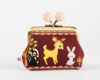 Metal frame coin purse with color bobbles - Bambi - Color mum / Kawaii japanese Disney fabric / Cute deer / brown yellow gray black green