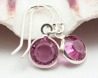 October Birthstone Earrings - Custom Birthstone Earrings - October Birthstone Jewelry Personalized Gift - Dangle Earrings - Rose Pink
