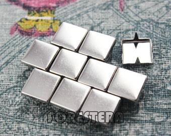 50Pcs 10mm Silver Flat Square Studs (SFQ10)