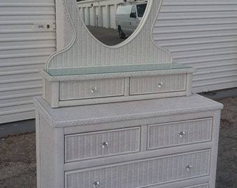 Lexington Wicker Henry Link Dresser and Mirror set (Shipping Not Included)