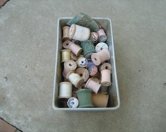 lot of 45 assorted wood thread spools