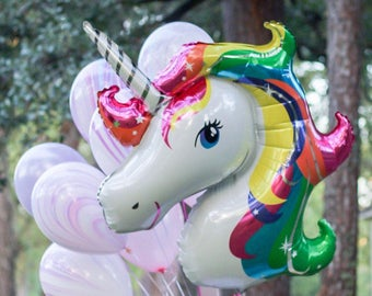 Unicorn Balloon - Unicorn Party Decor - Rainbow Party Balloon - Rainbow Party Decor - Marble Balloon - Rainbow Unicorn - Magical Party Decor