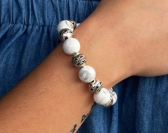 White Howlite and Silver Bracelet