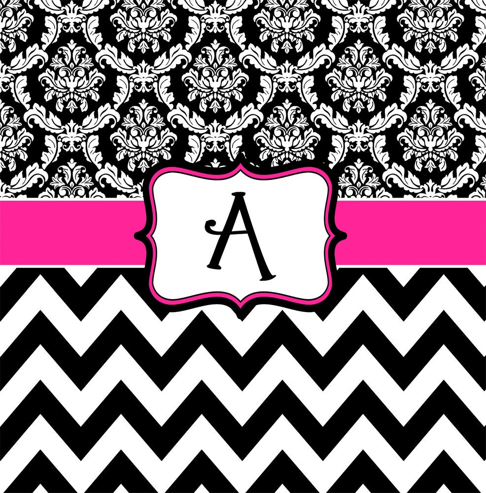 Damask And Chevron Hot Pink Black White Personalized
