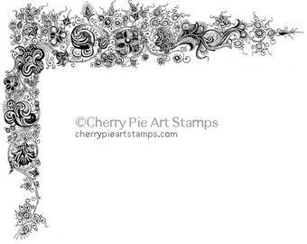 RENAISSANCE decorative corner - CLing RuBBer STamP by Cherry Pie S577