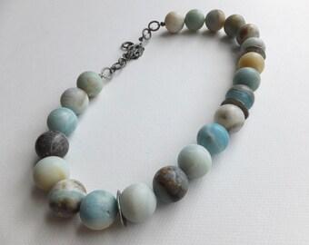 Amazonite bead necklace. Chunky, matte finish, natural beads.
