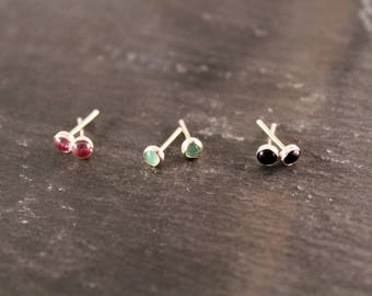 Sterling Silver Gemstone Stud Earrings - 3 PAIRS (Silver Gemstone Earrings Bridesmaid Birthstone Wedding Gift for Her Gifts Under 50)