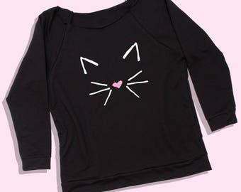 cat shirt - cat shirt for women - black cat shirt - black cat sweatshirt - cat sweatshirt - cat lady shirt - cat lady sweatshirt - cat shirt