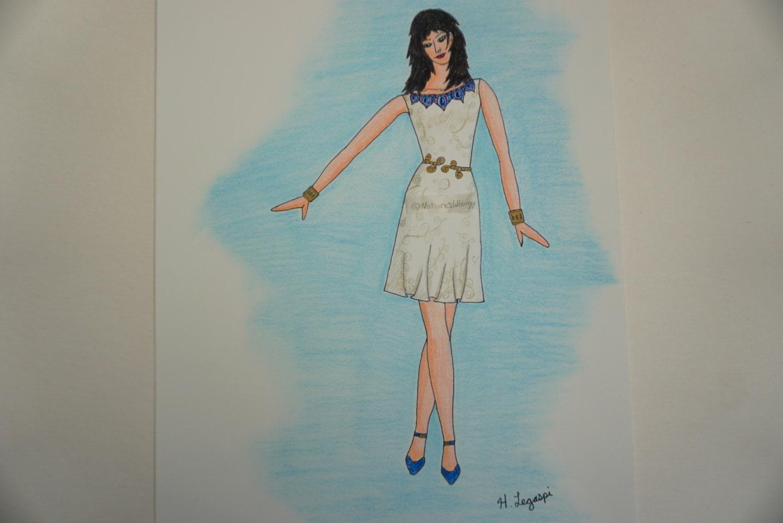 Egyptian Fashion Sketch Print Greco Roman Fashion Print Greek