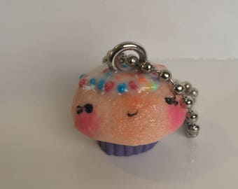 Hundreds and Thousands Cupcake Key Chain (Purple)