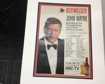 18/14 Matted add for Budweiser with John Wayne